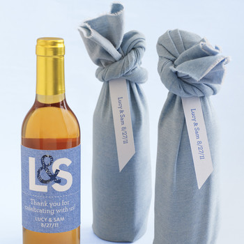 Fabric-Wrapped Wine Wedding Favor