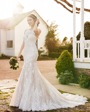 martina liana fit high neck white fit and flare gown