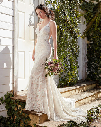 martina liana full length gown lace v-neck