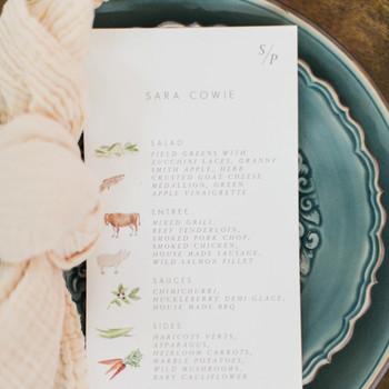 personalized custom menus on guests muted-teal dinner plates