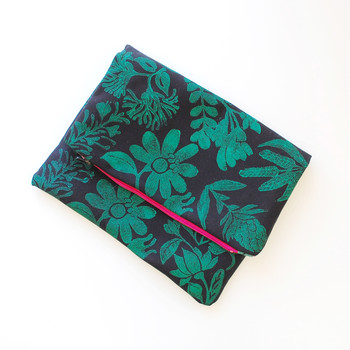 Hand-Stamped Fabric Clutch