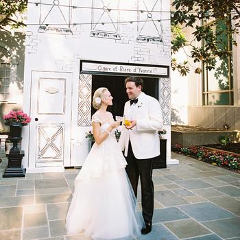 gigi kyle wedding couple holding drinks