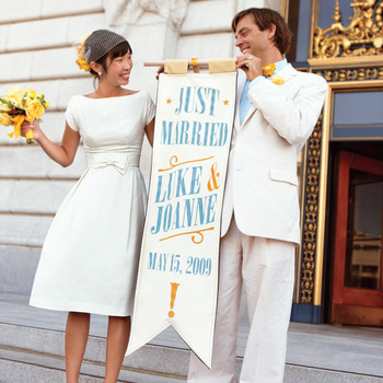 A Yellow-and-Turquoise Modern Restaurant Wedding in San Francisco, California