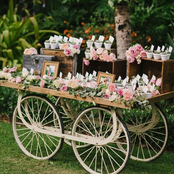 flower cart wedding favors