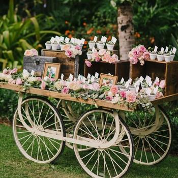 flower cart wedding favors