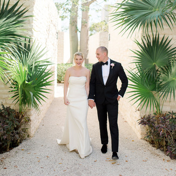katie nick wedding couple walking in mexico