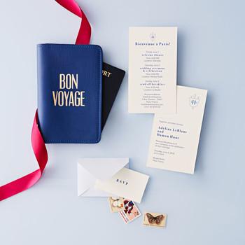 travel-themed wedding invitation