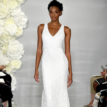 theia fall 2019 mermaid v neck sleeveless beaded floral applique