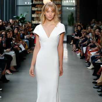 amsale fall 2019 sheath v-neck wedding dress
