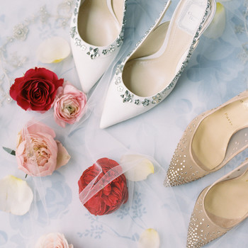 two pairs of wedding heels with crystal detail