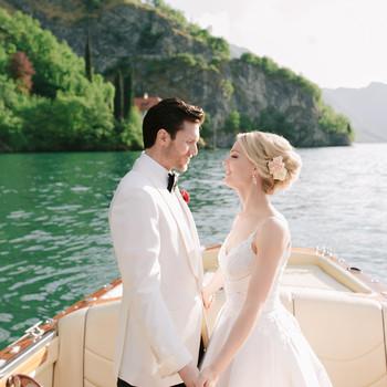 kiira arthur wedding couple standing on boat