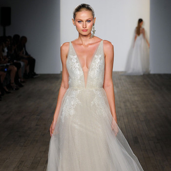 lazaro fall 2019 v-neck sheath glitter wedding dress