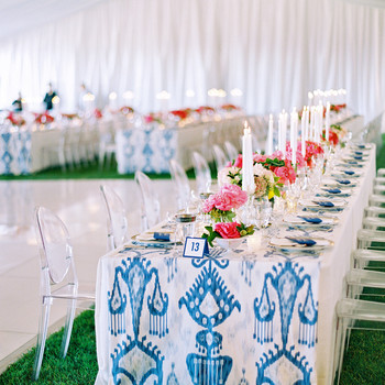 ikat runner reception table