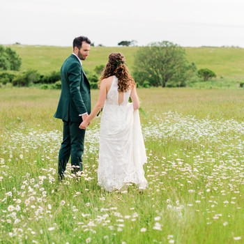 molly ed wedding couple bride groom in field