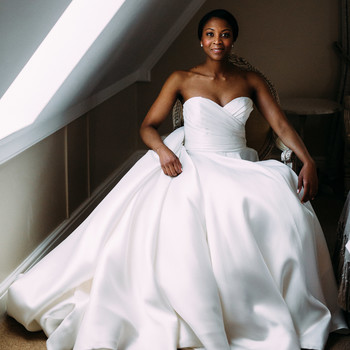 yolana douglas wedding bride seated