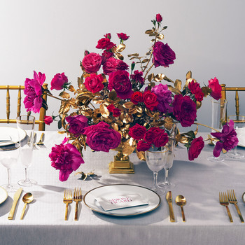 magenta gold centerpiece