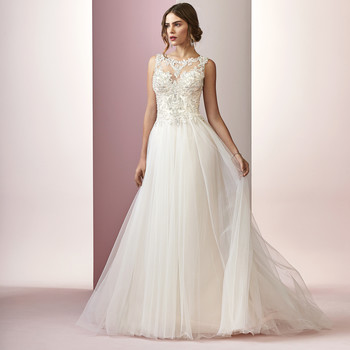 Rebecca Ingram wedding dress spring 2019 high neckline a-line with tulle skirt