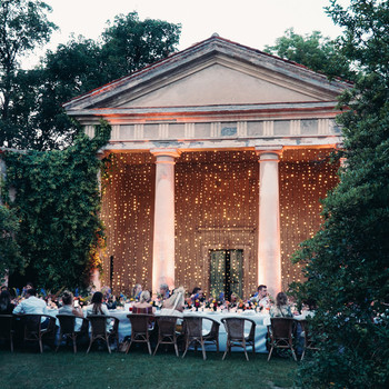 twinkle lights on exterior of venue