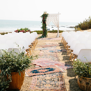 Ceremony Aisle with Layered Rugs