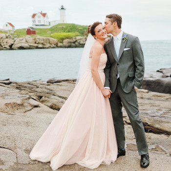 A Romantic Pink-and-Gold DIY Wedding in Maine