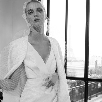 elie saab fall 2019 short high-low v-neck with jacket wedding dress