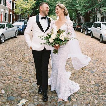 happy couple outdoor portrait in street
