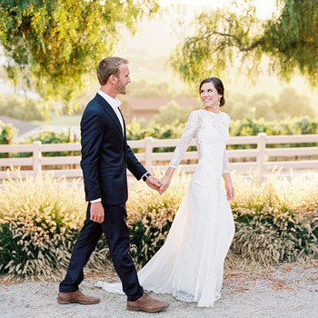 jena donny wedding couple walking holding hands