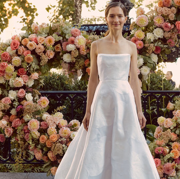 lela rose spaghetti strap straight across a-line wedding dress fall 2020