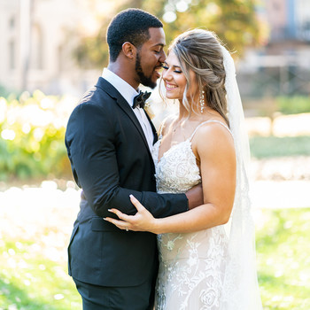 wedding couple embracing for portrait