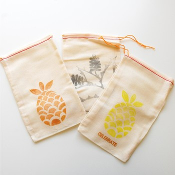 Hand-Carved Stamp Favor Bags