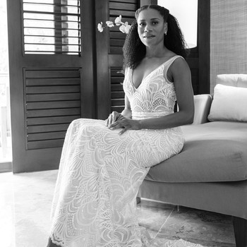 kelly mccreary sitting in wedding dress