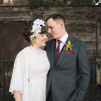 Kim and Tom's Vintage Tiki-Style Brooklyn Wedding