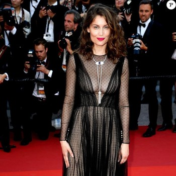 Laetitia Casta in black gown at Cannes Film Festival