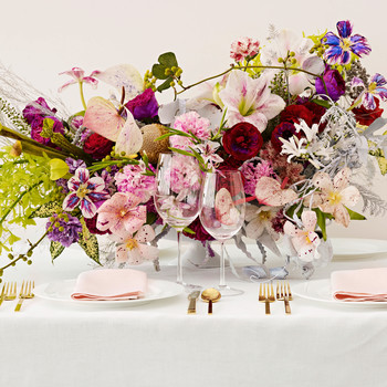 pink and red flowers centerpiece