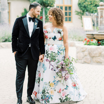 raina salih wedding couple in courtyard