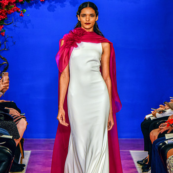 theia sheath with fuschia cape wedding dress fall 2020