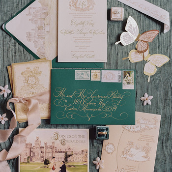 green and gold vintage invite