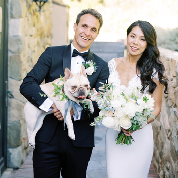 bettina gino wedding couple with bulldog