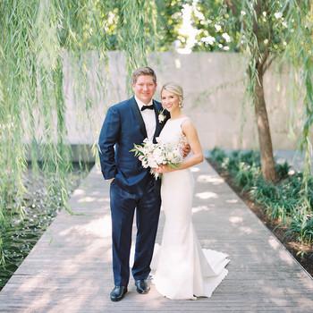 wedding couple portrait on boardwalk under willow tree
