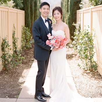 wedding couple portrait on garden walkway