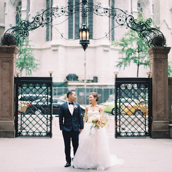 wedding couple portrait in nyc park