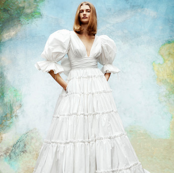 viktor and rolf v-neck bishop sleeves a-line wedding dress fall 2020