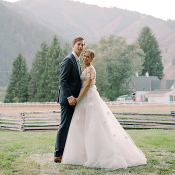 wedding couple portrait on farm