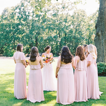 evie joe wedding bridesmaids in pastel pink