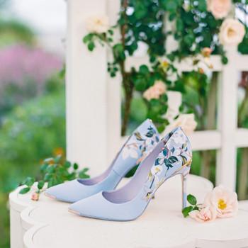Ted Baker London pale blue floral patterned heels