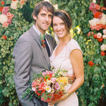 A Whimsical Blue, Purple, and Red Wedding in a Garden in California