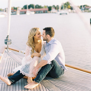 couple on dock engagement photo