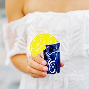 alcohol escort cards paper lemon cut-out on glass