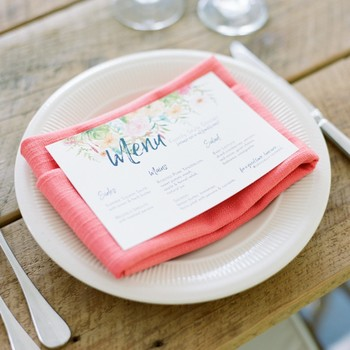 charlene jeremy wedding menu and place settings
