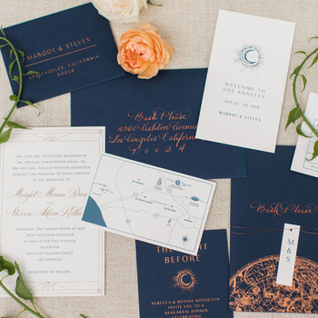 wedding invitation set with ocean inspired details